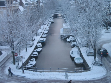 Frozen canal - Winter in Amsterdam