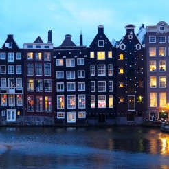 Canal Houses Amsterdam early evening