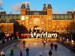 Rijksmuseum Museum with view of ice skaters - golden hour